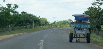 Charrette à cheval sur la route entre Las Terrazas et Cienfuegos (Cuba)