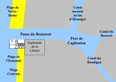 plan du port et des plages de Capbreton