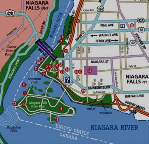 Carte des chutes du Niagara