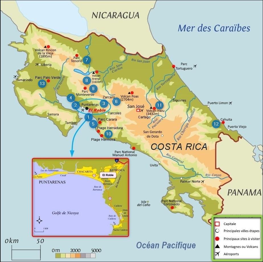 Carte des sites visités au Costa Rica