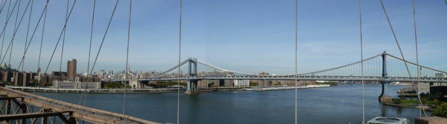 Le pont de Washington vu du pont de Brooklyn - New York