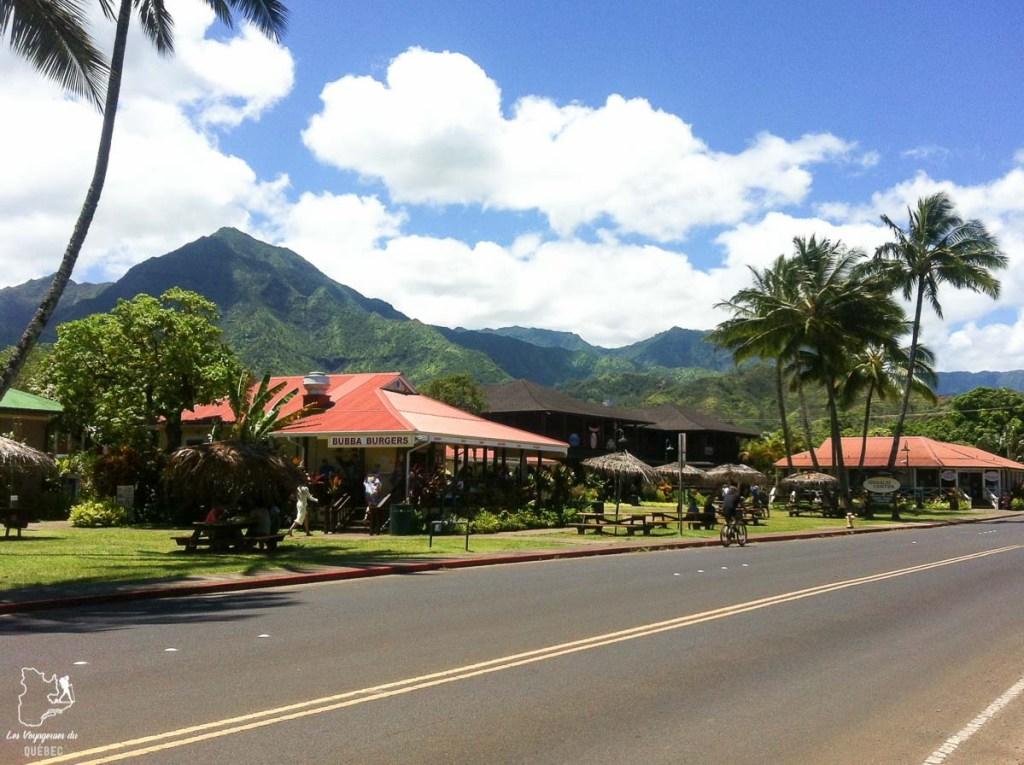 Village d'Hanalei sur l'île de Kauai à Hawaii dans notre article sur Visiter Kauai à Hawaii : 12 incontournables à faire sur l'île de Kauai #kauai #hawaii #voyage #usa #ile #iledekauai #kauaihawaii #hanalei