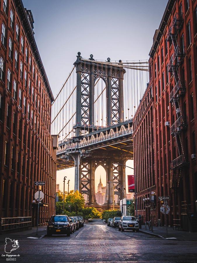 Plus belles vues de New York dans Dumbo sur le Manhattan Bridge dans notre article Les meilleurs points de vue de New York et endroits pour photographier la ville #newyork #usa #etatsunis #vue #panoramique #pointsdevue