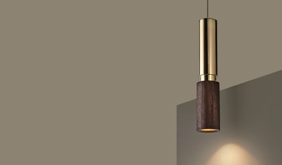 tubular shape amelia pendant lamp David Pompa on brown background