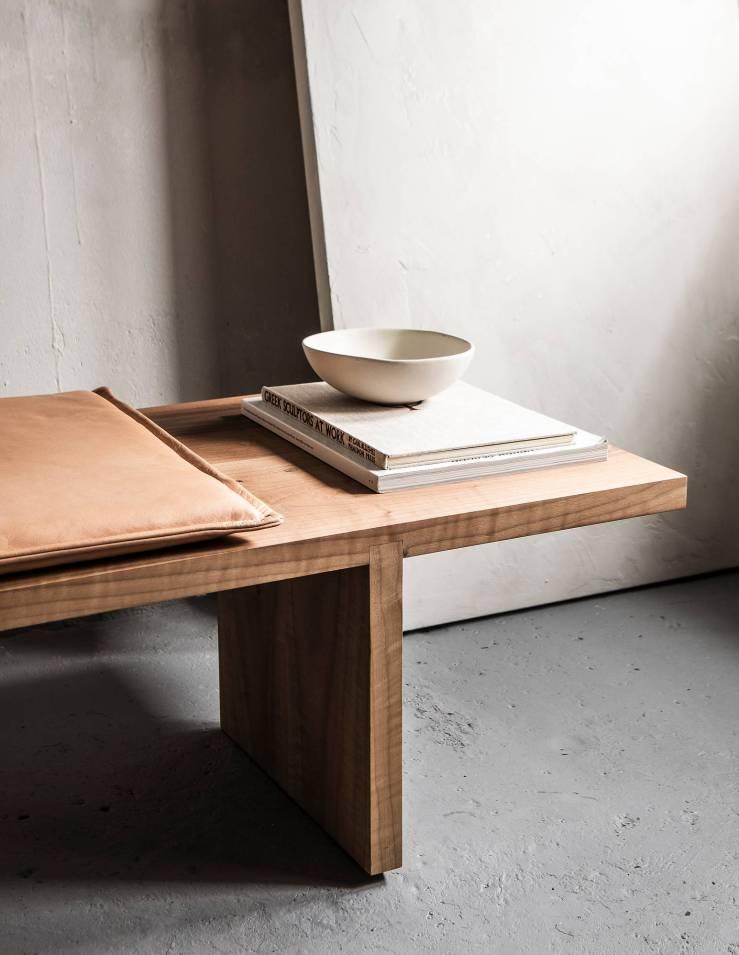Dry studios walnut wood offset bench