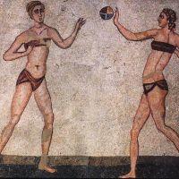 """Mosaïques """"des femmes en bikini"""" de la villa du Casale"""