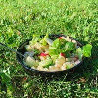 Macaronis sans gluten à l'huile d'olive, pomme rouge, concombre, basilic et thym — Les Zackardises