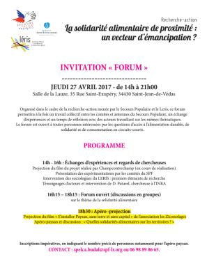 27/04 Forum La solidarité alimentaire de proximité : un vecteur d'émancipation? par le SPF et le Leris,avec le film s'installer paysan