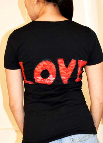 "Another awesome Valentine's Day refashion t-shirt with the word ""LOVE"" cut out with red lace. Simple step-by-step DIY sewing tutorial. Upcycle! Fashionista!"