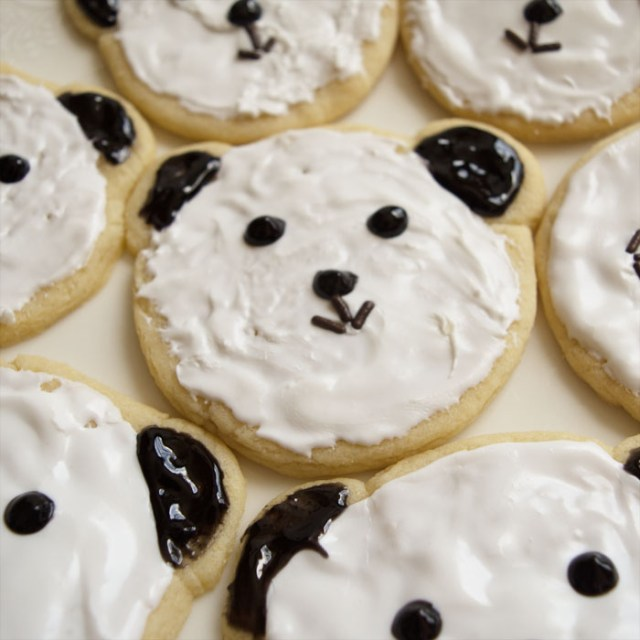 Make these adorable panda sugar cookies! Really easy dessert recipe using common stuff you can buy at the grocery store. No baking skills required! Great for a kid's party, any school event, or a bake-sale. Child-friendly recipe, too, great to get children cooking and baking, all while make cute food that makes them excited to bake. Explore the web site for more cooking and recipe tutorials with good, clear photos and instructions. It's pandamonium over here at http://letgoofbeingperfect.com