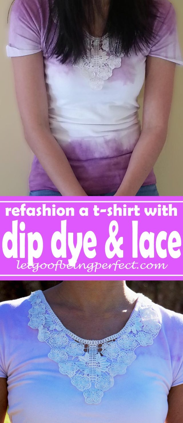 Remaking a Long Sleeve Shirt with Dip Dye and Lace - Refashion / upcycle those t-shirts with some dip dye and lace! Step-by-step DIY sewing tutorial for upcycling clothes into some other type of clothing or accessory. Remake, redo, reuse, and recycle to help save money and save the planet. Explore the web site for more refashioning tutorials, dozens of cute refashionista and fashion ideas with good, clear photos and instructions. http://letgoofbeingperfect.com