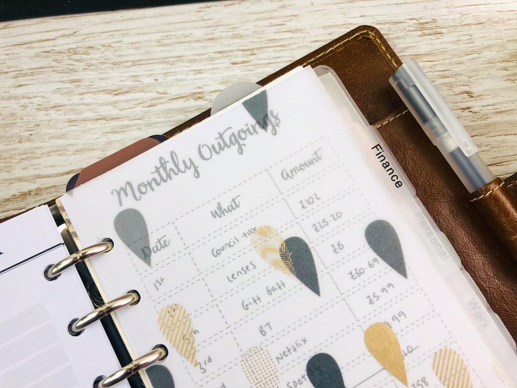 filiofax budget planning
