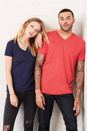 3415 BELLA+CANVAS® Unisex Triblend V-Neck Tee in True Royal Triblend