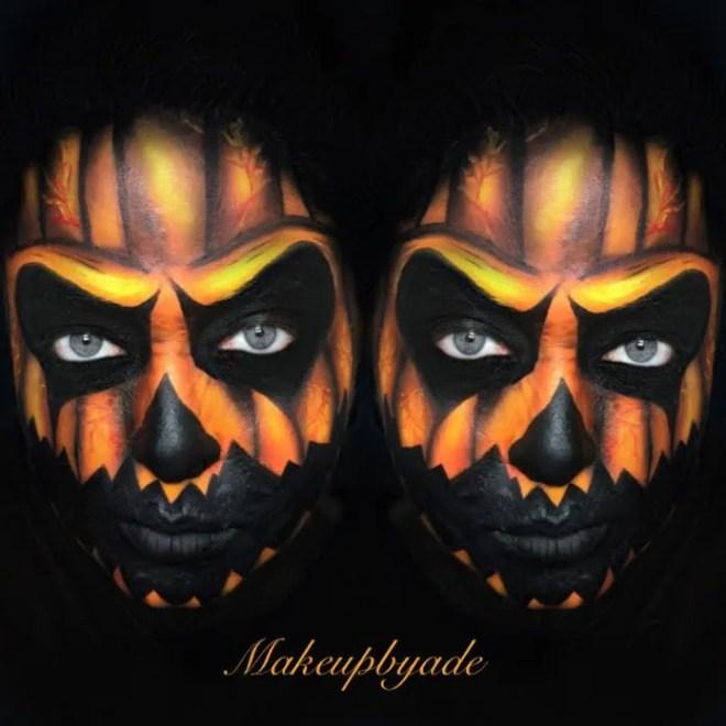 pumpkin scary face paint