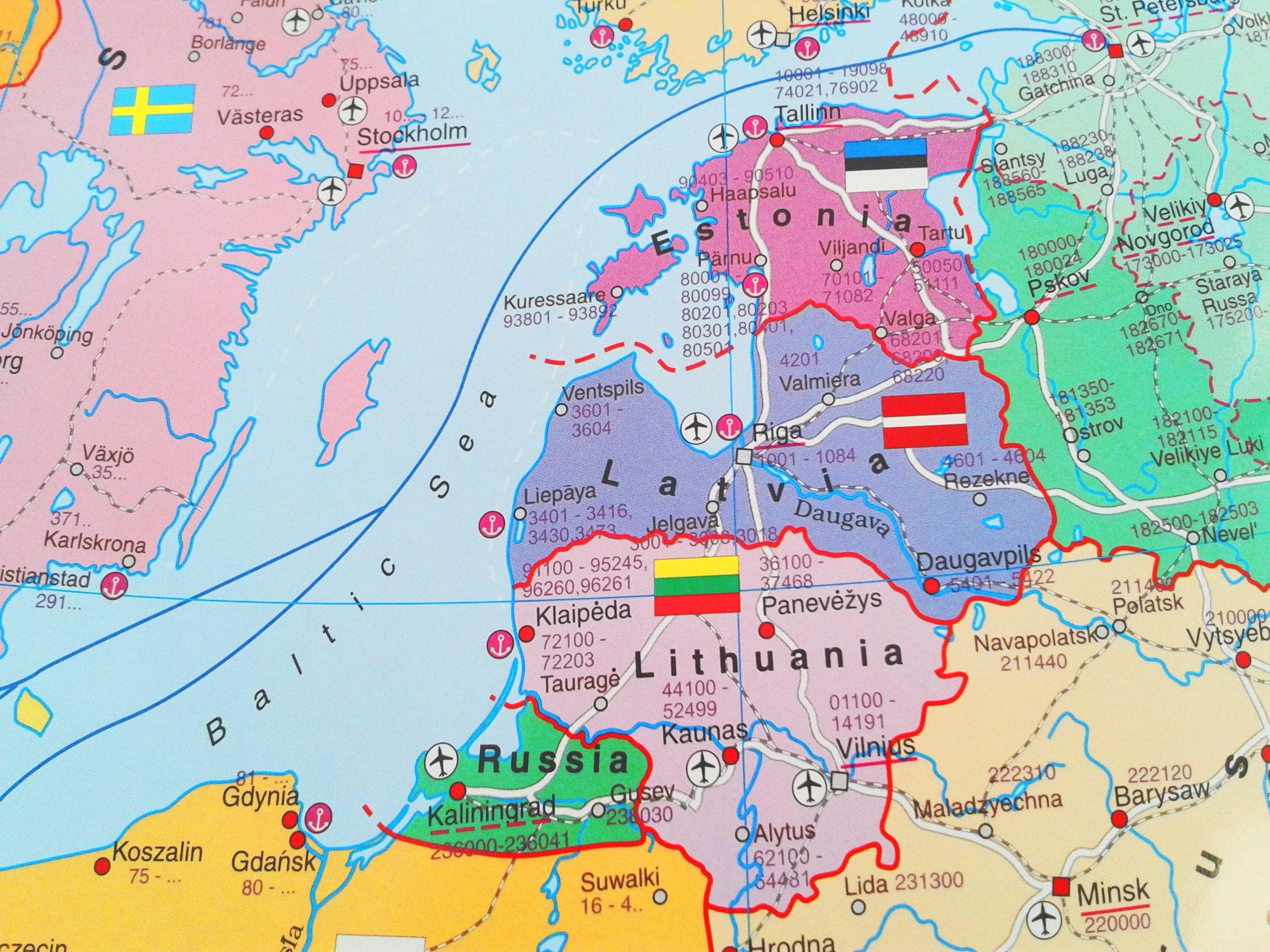 Harta tarilor baltice | Letonia ⓜ mapamond media