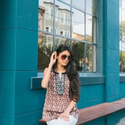 A patterned top with hints of Marsala and aviators is an easy low key look!