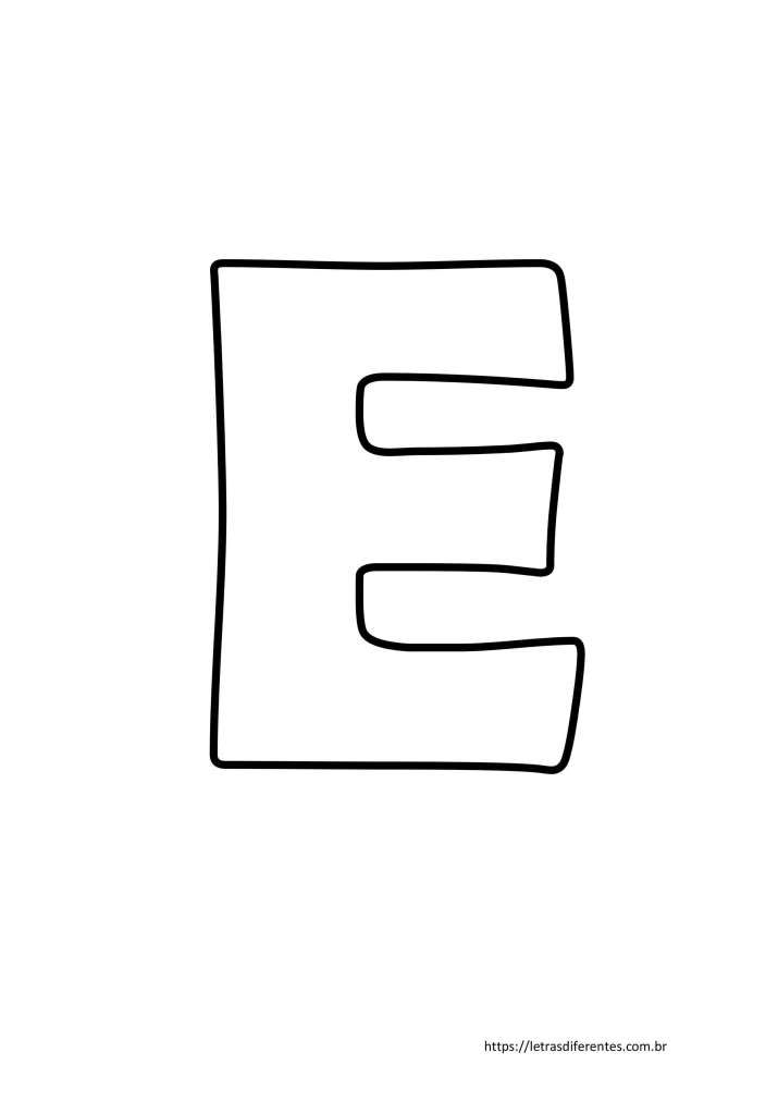 Letra E para imprimir grátis, moldes de letras