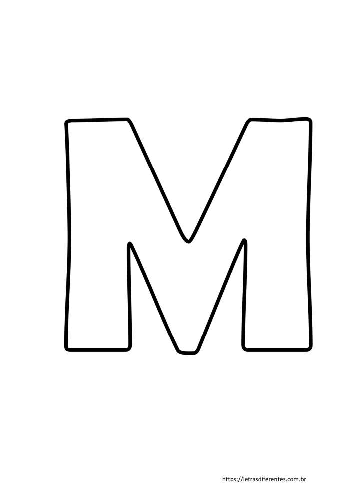 Letra M para imprimir grátis, moldes de letras