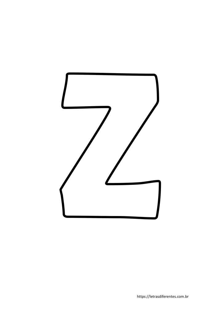Letra Z para imprimir grátis, moldes de letras