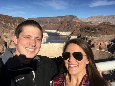 Standing on the bridge at the Hoover Dam