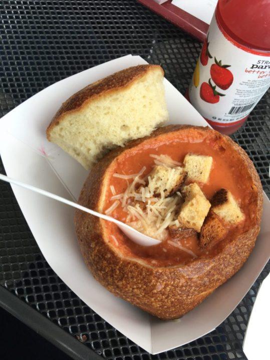Tomato soup at Boudin in San Francisco