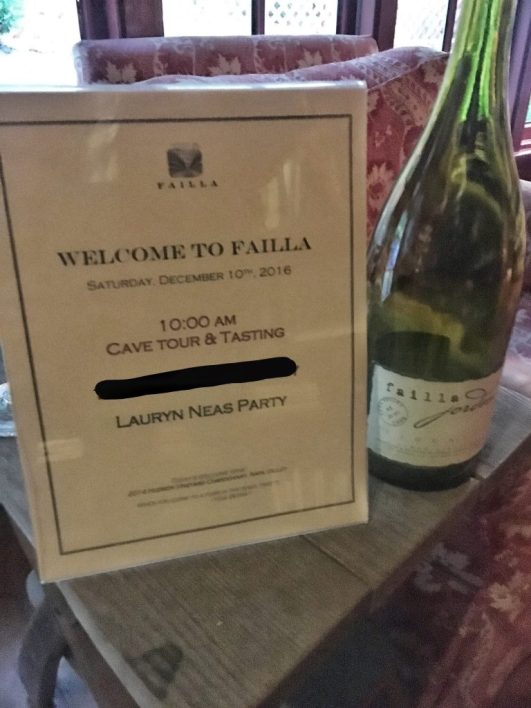 Sign with my name on it at Failla winery