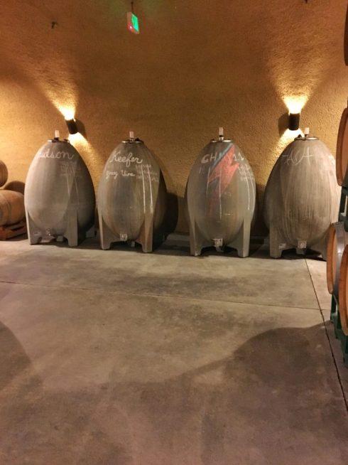 Cement wine barrels at Failla winery in Napa California