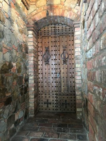 Door inside Castello di Amorosa in Napa California