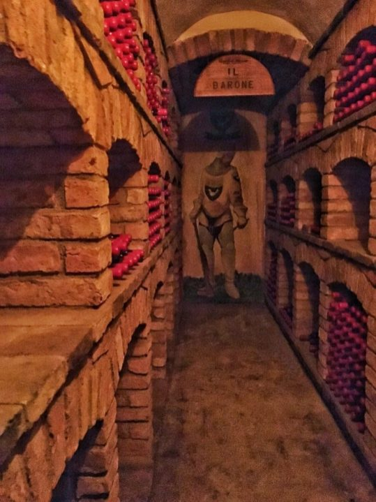 One of the wine cellars Inside Castello di Amorosa in Napa California