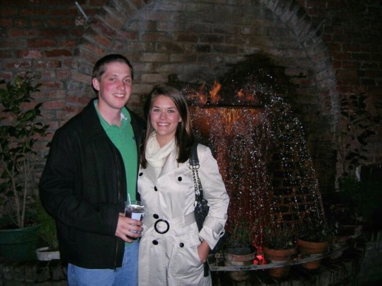Standing by the fire fountain at Pat O'Brien's in New Orleans