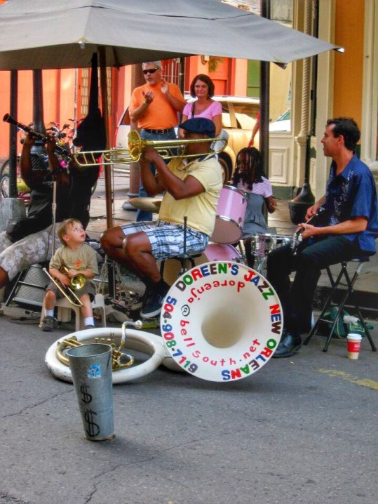 Musicians playing on Royal Street in New Orleans
