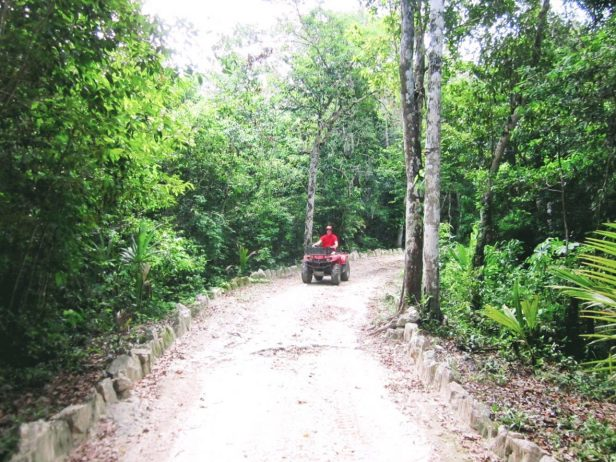 Eric driving a four wheeler through the jungle near Tulum, Mexico