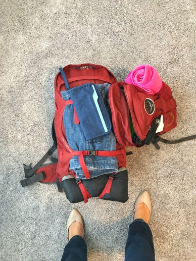 Only a large backpack and a day pack