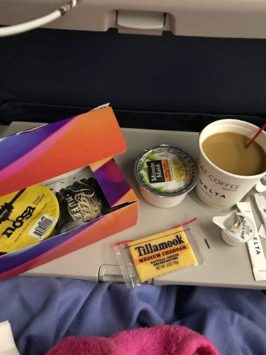 Breakfast on the Delta flight from Atlanta to Brussels