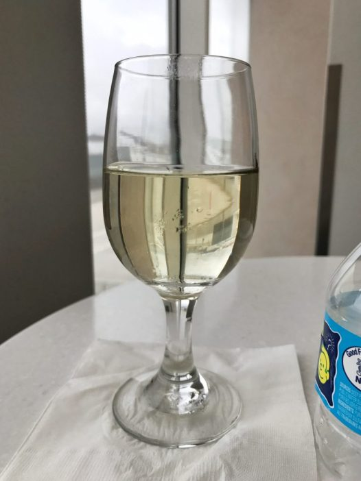 Wine at the Priority Pass lounge in the airport in Atlanta, Georgia