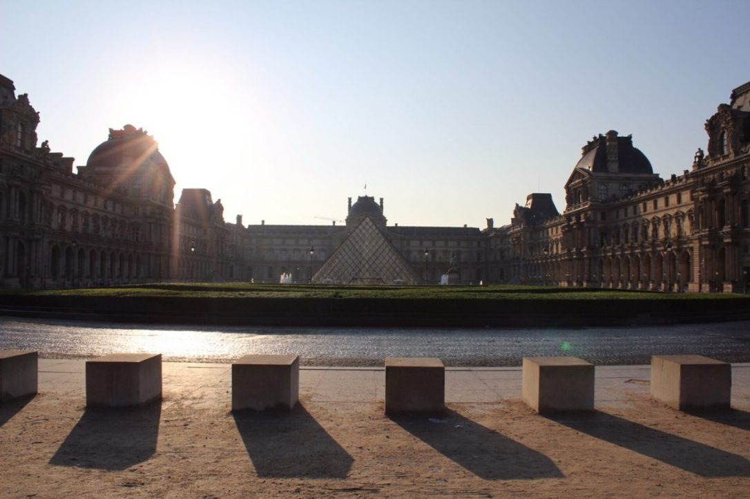 The front of the Louvre Museum pyramid in Paris France