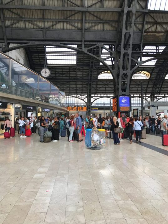 Inside the train station in Milan, Italy
