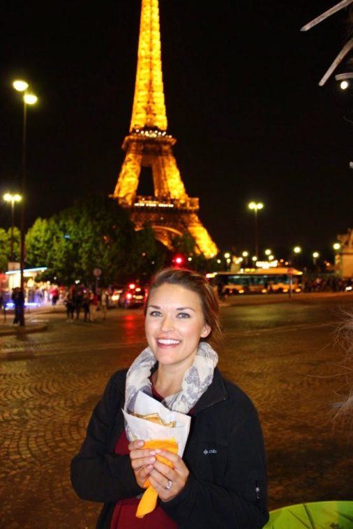 Eating a crepe in front of the Eiffel Tower at night in Paris France