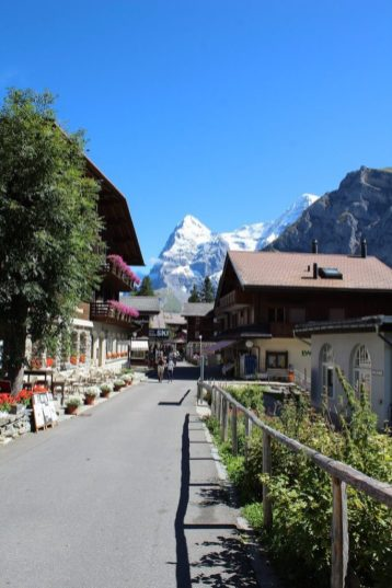 View of the mountains in Murren Switzerland