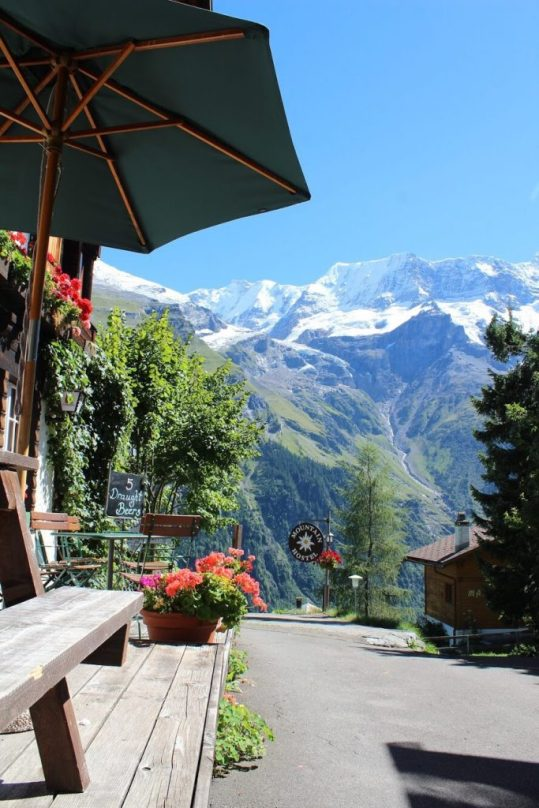 Biergarten in Gimmelwald Switzerland