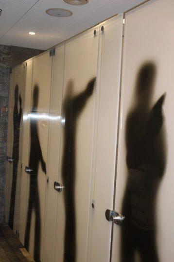 The James Bond bathroom doors at the Schilthorn in Switzerland