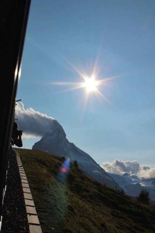 View of the Matterhorn from the Gornergrat cogwheel train in Zermatt Switzerland