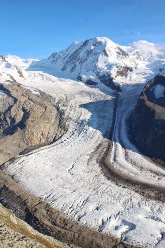 Gorner Glacier at the Gornergrat in Zermatt Switzerland