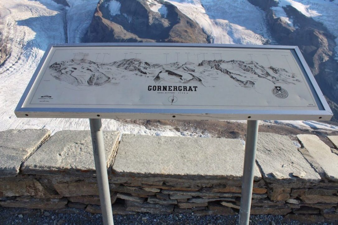 Map of the view that can be seen from the Gornergrat