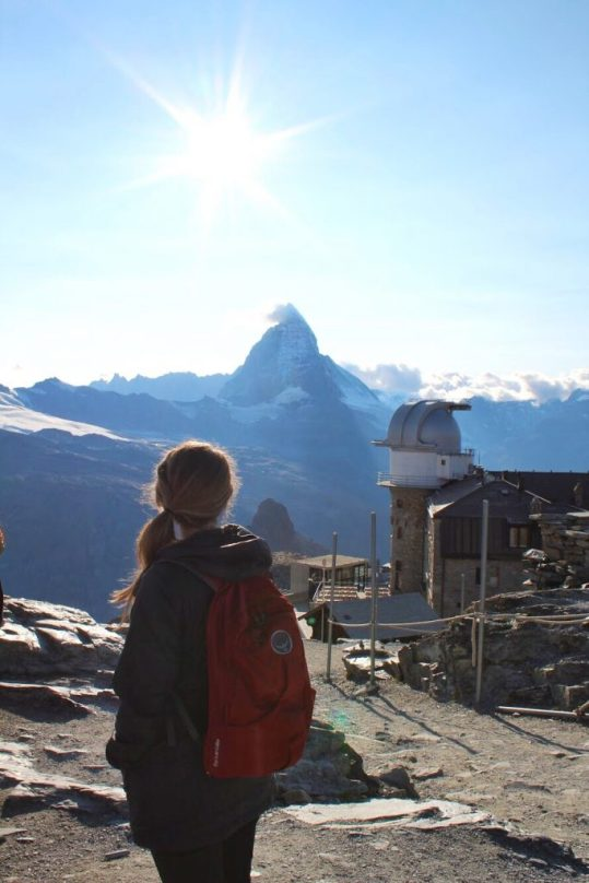 Lauryn in front of the Matterhorn at the Gornergrat in Zermatt, Switzerland