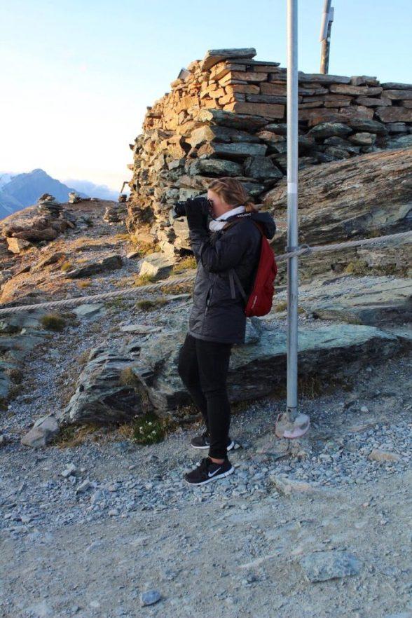 Lauryn photographing a couple at the Gornergrat in Zermatt Switzerland
