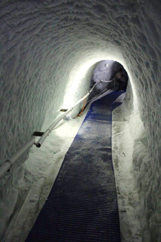 The ice tunnel inside the glacier at the Matterhorn Glacier Paradise in Zermatt, Switzerland