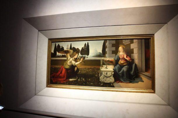 Annunciation, Leonardo da Vinci in the Uffizi museum in Florence Italy