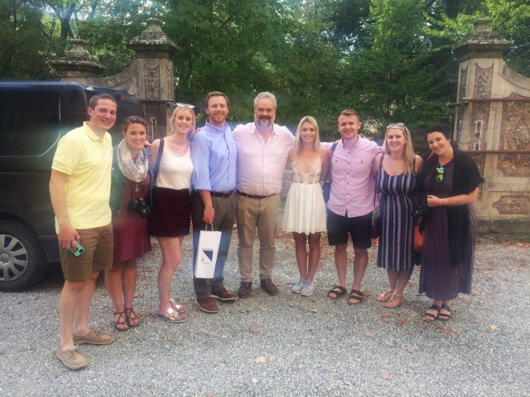 Our Tuscan wine tour group at Villa Calcinaia Winery in Tuscany Italy