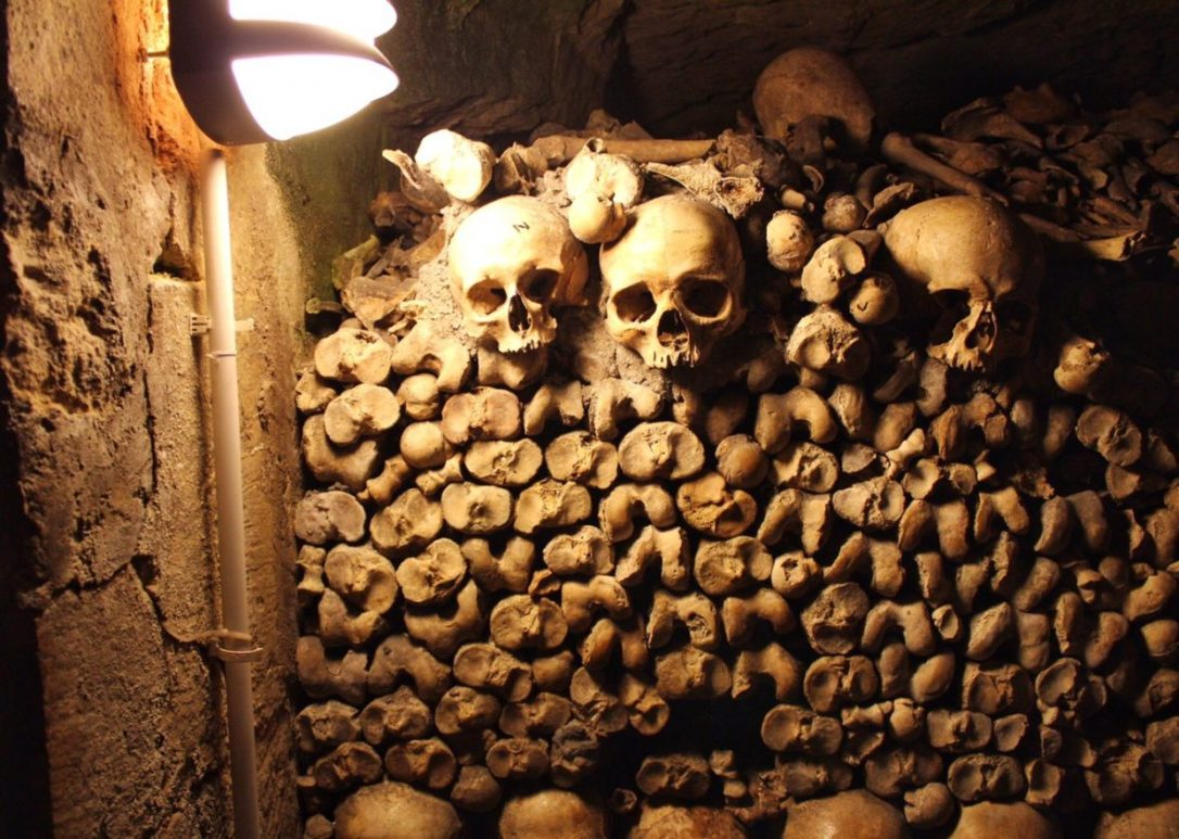 Pile of bones at the Paris Catacombs